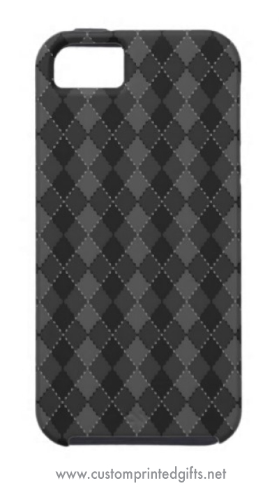 Trendy and elegant iphone 5 case with a black and dark gray argyle pattern