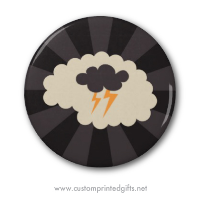Fun, retro styled pin or pinback button featuring a brain with a cloud and lightning as a symbol of brainstorming, creativity and ideas