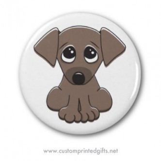 Cute refrigerator magnet featuring an adorable little puppy dog with big begging eyes