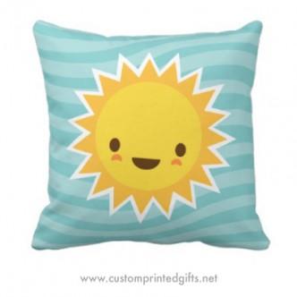 Cute kawaii sun cartoon character custom pillow for kids or women