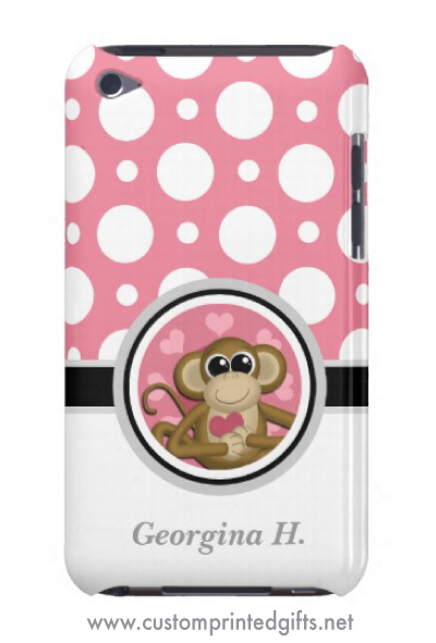 Fun, girly iPod touch case with a cute cartoon monkey holding a pink heart