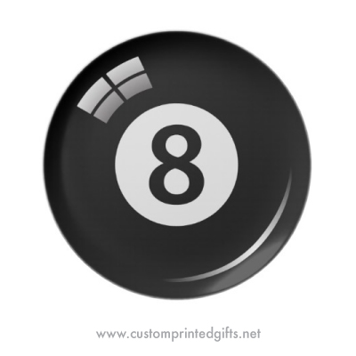 Number 8 billiard ball melamine plate
