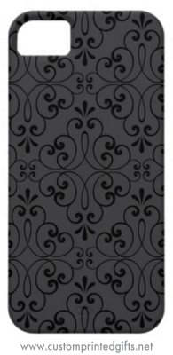 Elegant iphone 5 case with black ornate damask swirls on a dark gray background