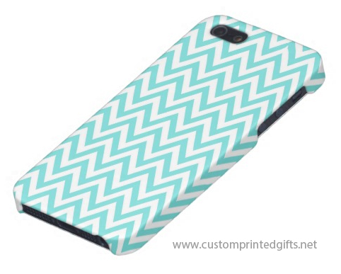 Trendy turquoise aqua blue chevron zigzag pattern iphone 5 case