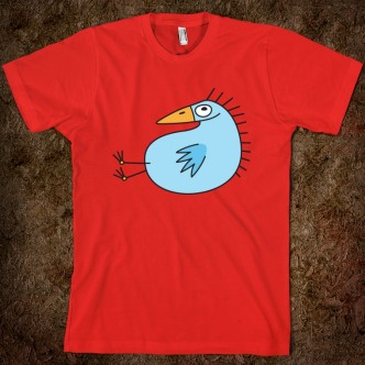 Red t-shirt featuring a happy, blue bird
