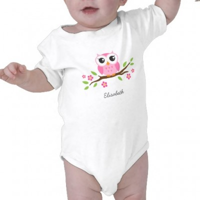 Personalized romper for baby girls with cute pink owl sitting on a branch