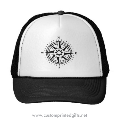 Black and white compass rose cap