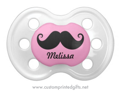 Cute pacifier for baby girls with funny mustache and personalized name