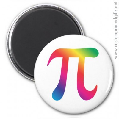 Colorful rainbow colored pi symbol locker magnet