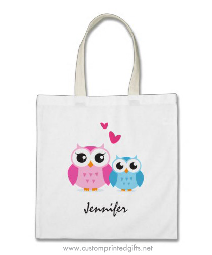 Cute cartoon owls big sister little brother or mother son personalized name tote bag