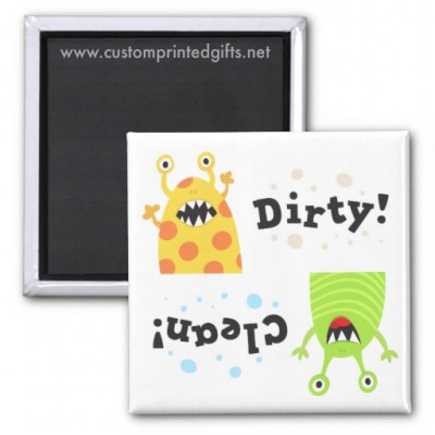 Unique dishwasher magnet with little cartoon monsters