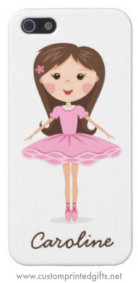 Ballerina girl in pink tutu, personalized phone cover
