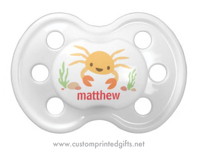 Customizable pacifier or dummy with a cite, kawaii style crab
