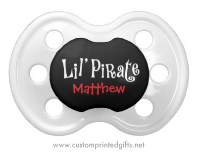 Cute pacifier or dummy for pirate boys with personalised name