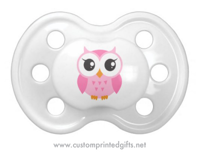 Fun dummy or pacifier for girls featuring a cute little owl cartoon image