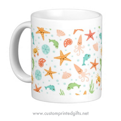 Fun mug featuring a cute pattern of kawaii style sea critters