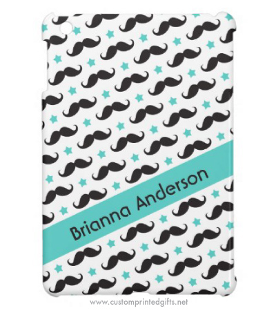 Moustache ipad mini cover with black handlebar and aqua stars pattern