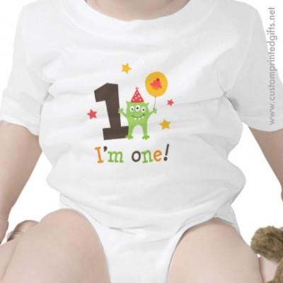 Cute 1st birthday onesie with little cartoon monster