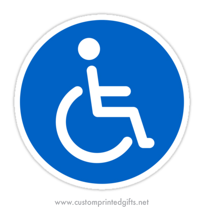 Round sticker with the classic handicap / disability symbol