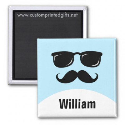 Cool mustache and glasses dude personalized name magnet