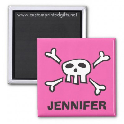 Personalized name magnet for kids with cartoon skull
