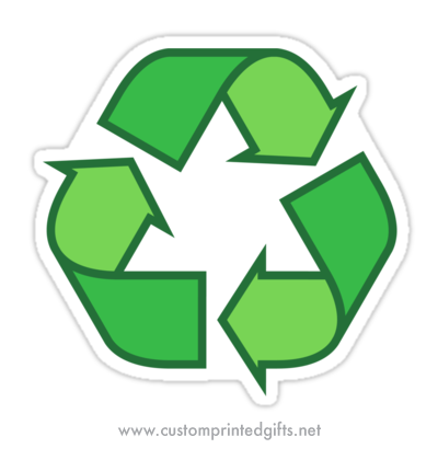 A bold, green recycling symbol vinyl sticker