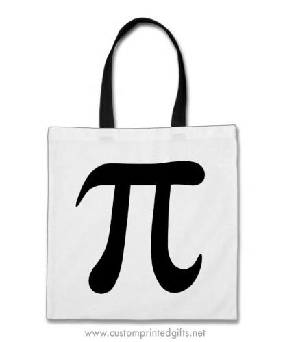 Big Black Pi Symbol Tote Bag Custom Printed Gifts