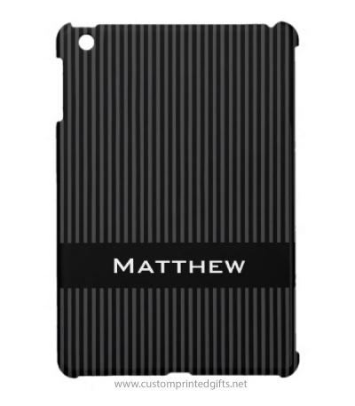 Stylish, black and dark gray stripes personalized iPad mini case