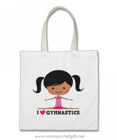 I love gymnastics tote bag with african american cartoon girl