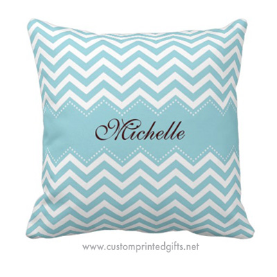 Pale sea blue chevron zigzag pattern throw pillow with personmalized name
