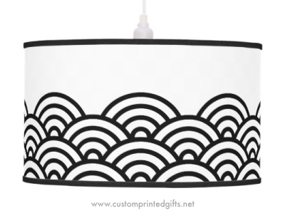Black, abstract japanese wave pattern border ceiling lamp