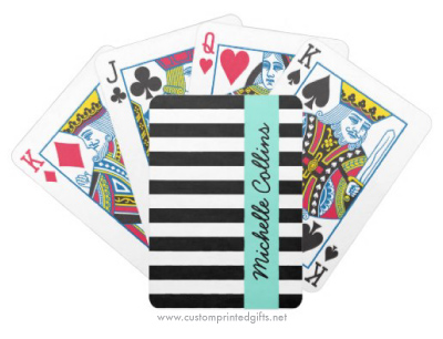 Chic and trendy custom playing cards with black and white stripes and personalized name