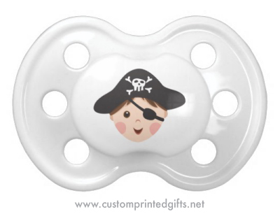 Cute cartoon boy with pirate hat and eye patch custom pacifier for little baby boys