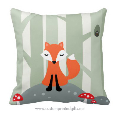 Cute cartoon fox in the forest with red mushrooms kids pillow room decor