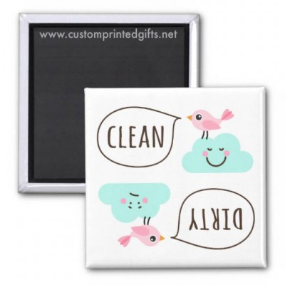 Cute clean dirty dishwasher magnet with cartoon birds