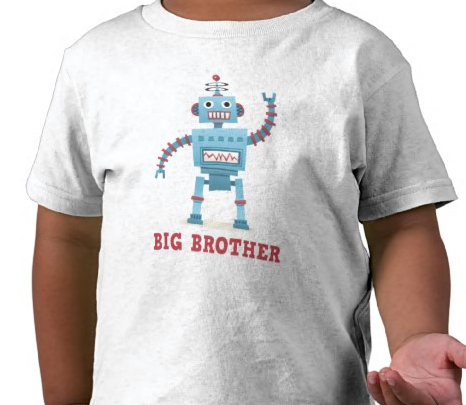 Cute fun retro robot cartoon android big brother t-shirt