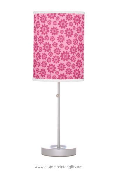 Cute lamp for children pink girly whimsical flower pattern