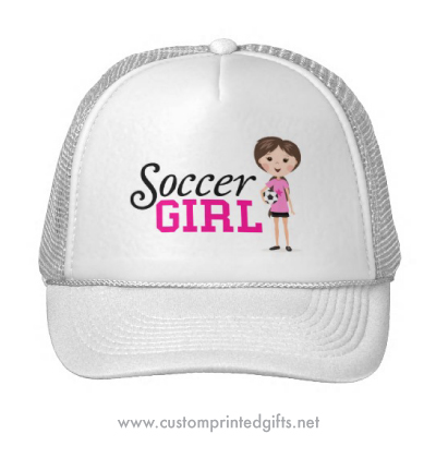 Cute pink cartoon soccer girl cap trucker hat