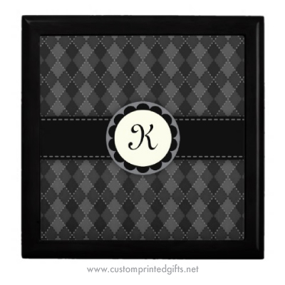 Dark gray argyles argyle pattern gift box with custom monogram initial