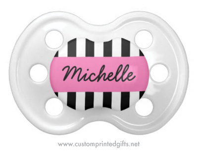 Fashionable black and white zebra stripes pink personalized pacifier for baby girls