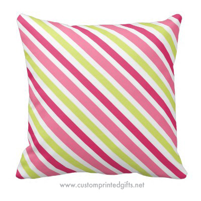 Fresh pink and lime green stripes cute pillow for girls and women