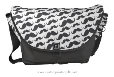Fun messenger bag with dark gray and white mustache pattern