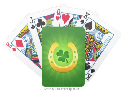 Lucky golden horseshoe and green shamrock custom playing cards