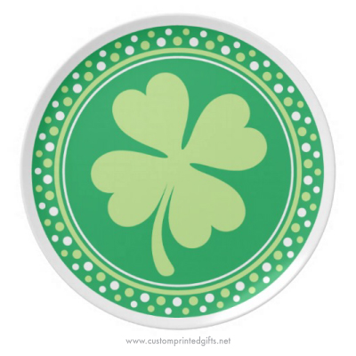 Lucky green shamrock four 4 leaf clover Saint Patricks day plate