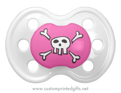 Pink pirate pacifier for girls with skull and crossbones cartoon