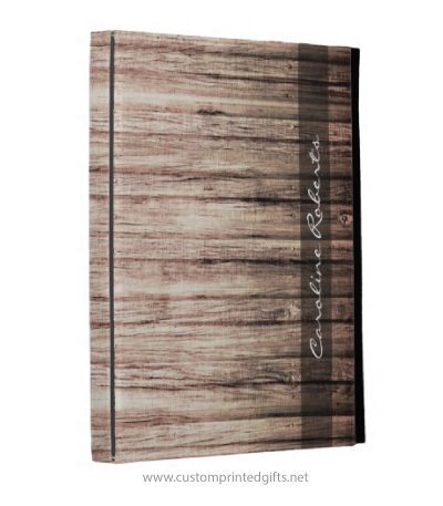 Rustic, weathered, old barn wood grain personalized name ipad folio case