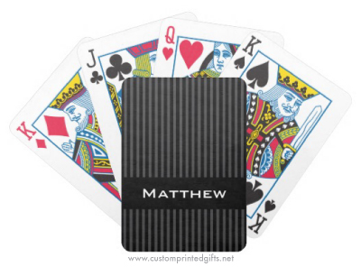 Stylish personalized name playing cards with classy black and gray stripes
