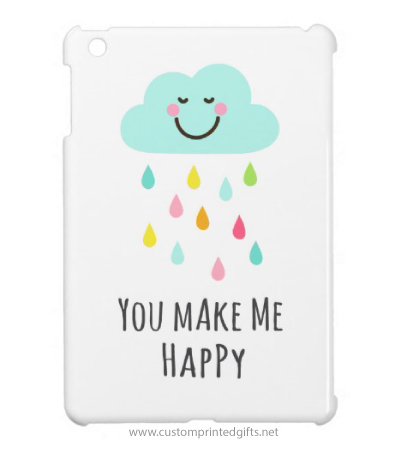 You make me happy smiling cloud with colorful raindrops iPad mini case for women