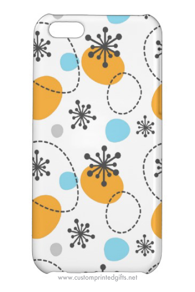 iphone 5 case with retro pattern design with abstract flowers and colored dots