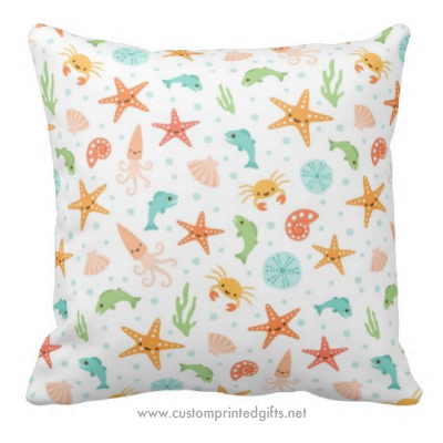 Cute kawaii under the sea pattern nursery decor throw pillow for children